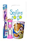 Disney Princess Beauty and the Beast Belle Inspired 3pc Bright Smile Oral Hygiene Bundle! Toothbrush, Brushing Timer & Mouthwash Rinse Cup! Plus Dental Gift & Remember to Brush Visual