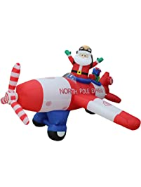 animated 8 foot wide christmas inflatable santa claus flying airplane blow up yard decoration