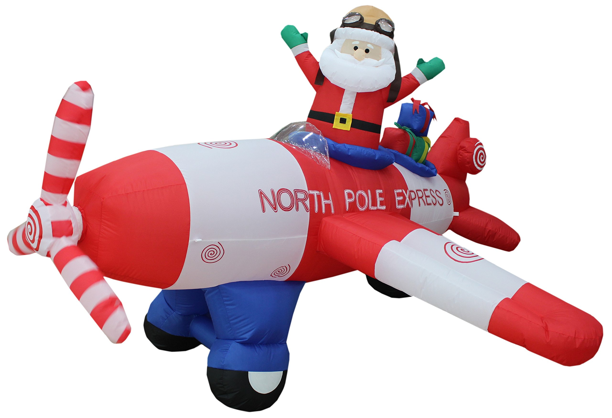Animated - 8 Foot Wide Christmas Inflatable Santa Claus Flying Airplane Blow Up Yard Decoration