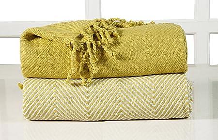 EHC Luxury Chevron Cotton Single Sofa Throw Blanket, Yellow, Pack Of 2, 125