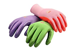 G & F 15226L Women's Garden Gloves, nitrile coated work gloves, assorted colors. Women's Large, 6 Pair Pack