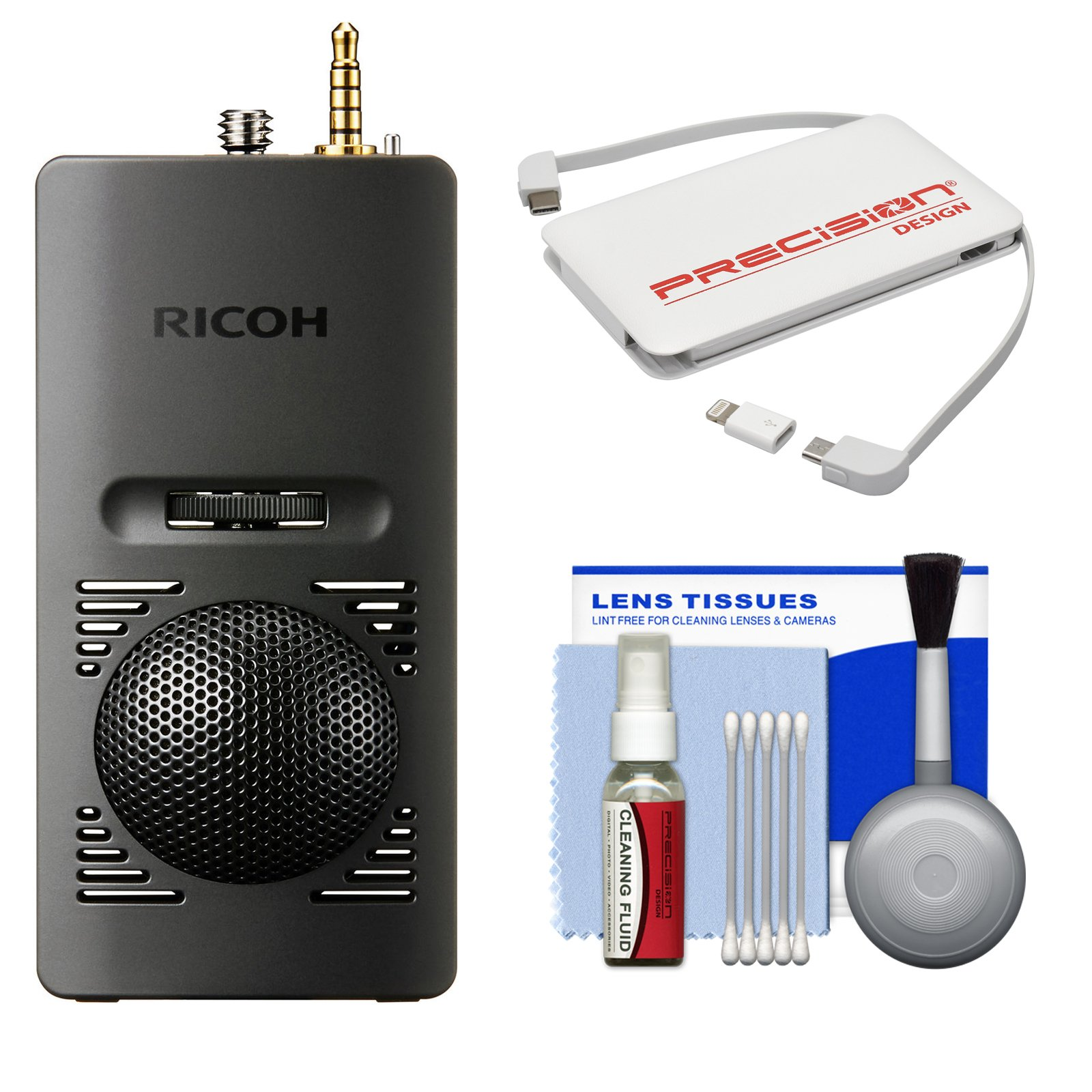 Ricoh TA-1 3D 360 Degree Microphone for Theta V Camera with Portable Charger + Cleaning Kit