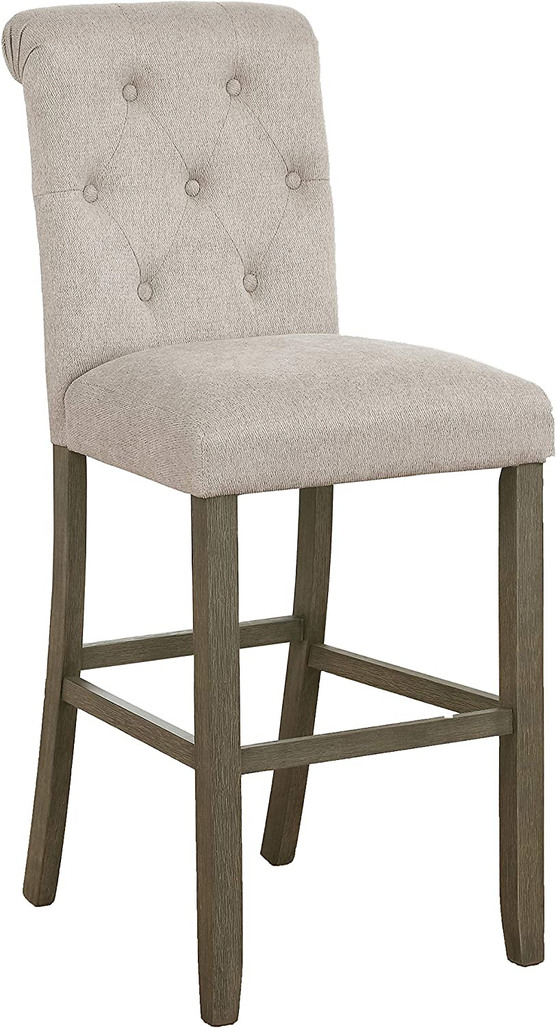 Coaster Home Furnishings Tufted Back Bar Stools Beige and Rustic Brown (Set of 2) (193169)