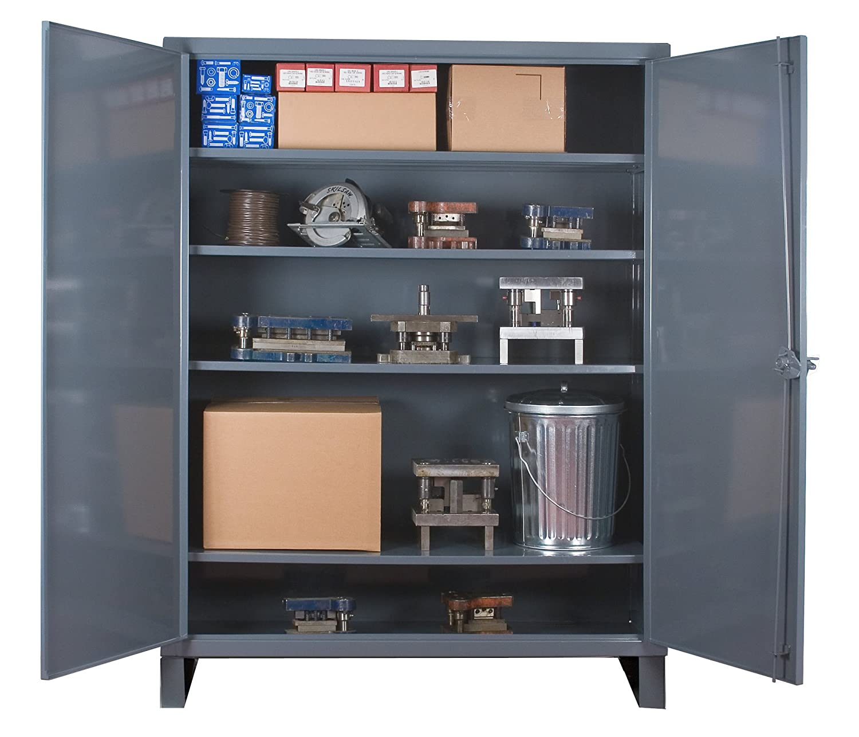 "Durham Extra Heavy Duty Welded 12 Gauge Steel Lockable Storage Cabinet, HDC-247278-4S95, 1300 lbs Shelf Capacity, 24"" Length x 72"" Width x 78"" Height, 4 Shelves"