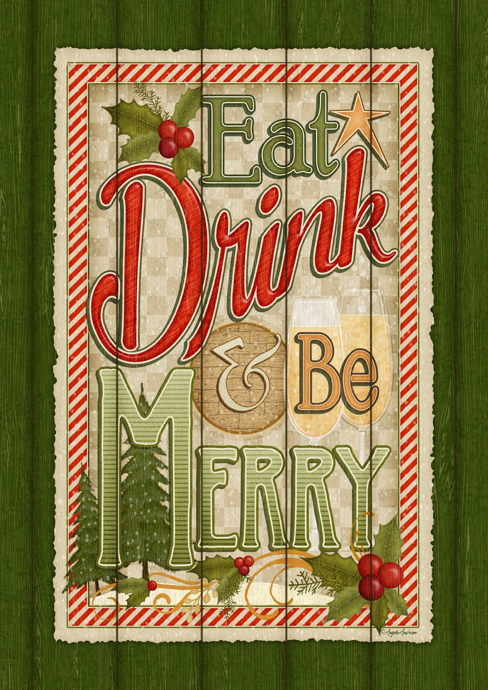 Toland Home Garden Eat Drink Be Merry 28 x 40 Inch Rustic Christmas Sign Decorative House Flag 1010936