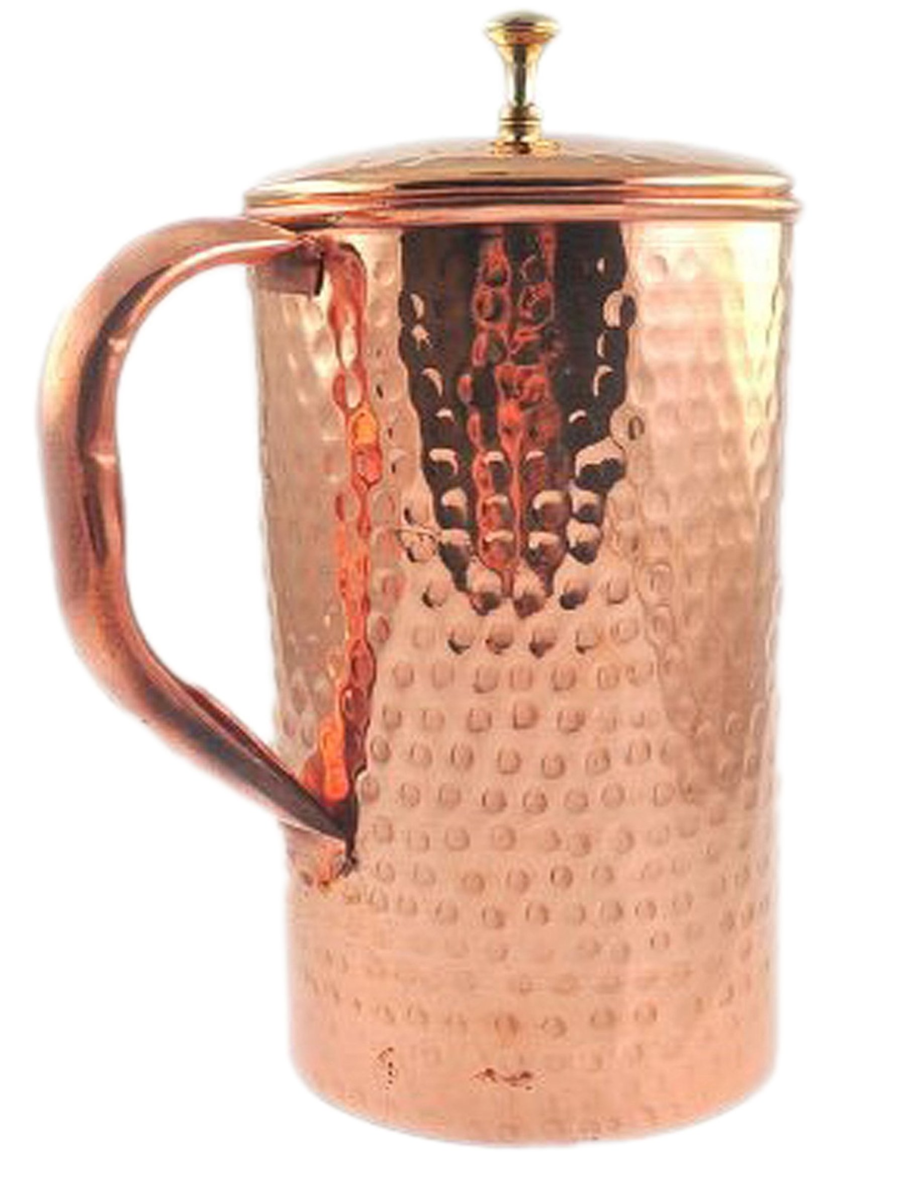Pure Copper Hammered Water Jug Copper Pitcher for Ayurveda Health Benefit Hammered Finished by Parijat Handicraft (Image #4)