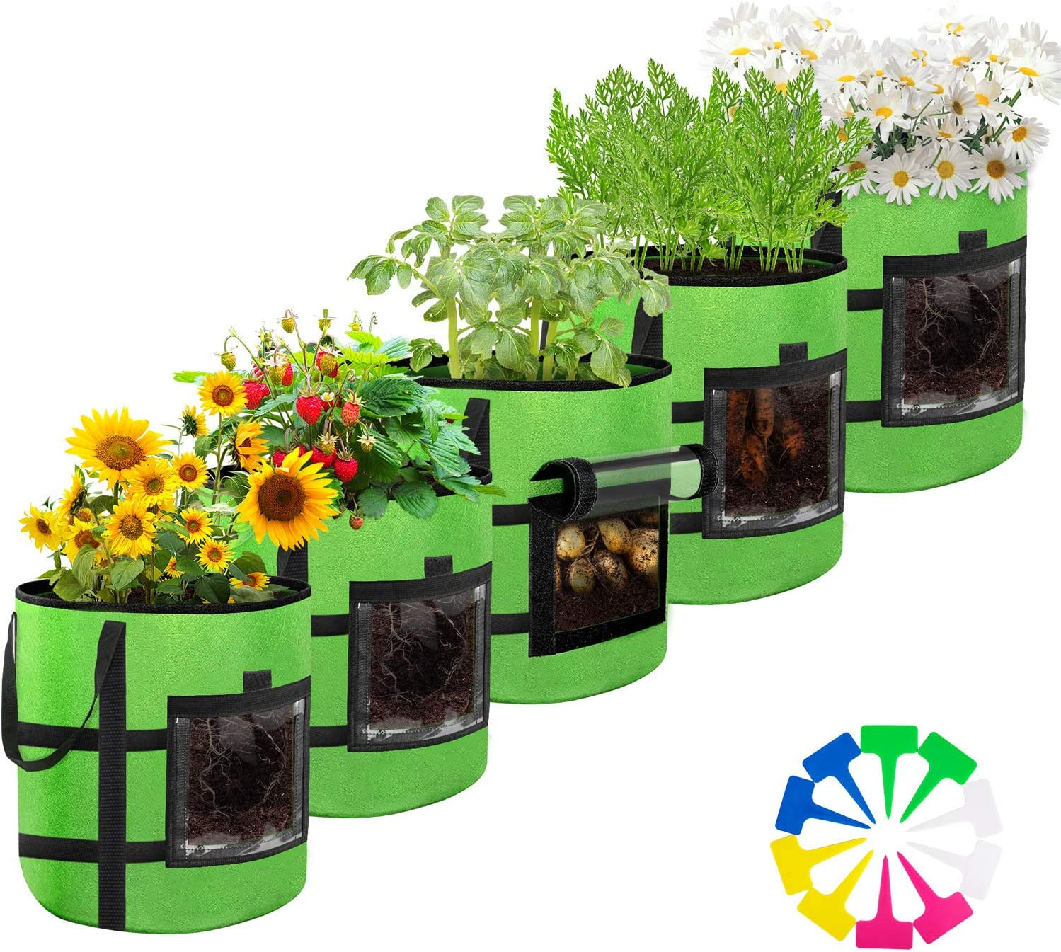 10 Gallon Plant Grow Bags, 5-Pack Potato Grow Bags Reusable with Planter Label 12pcs, Access Flap & Reinforced Handle, Non-Woven Fabric Pots Container for Nursery Garden vegetables Fruit Flower(Green)