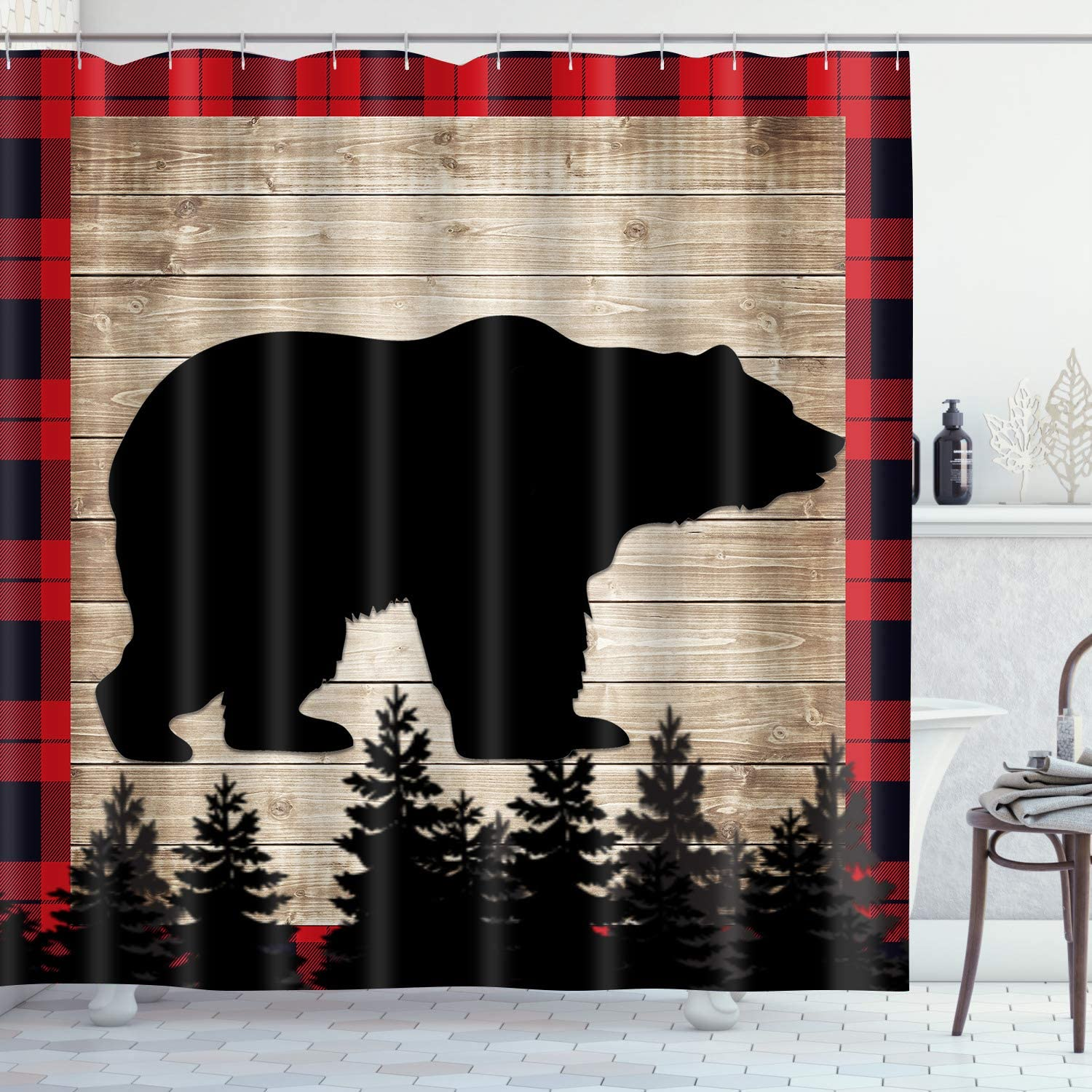 Black Bear Shower Curtain Rustic Plank Red Square Bathroom Curtain for Decor 72x72in Waterproof Polyester Fabric with 12 Hooks YLLSGE410