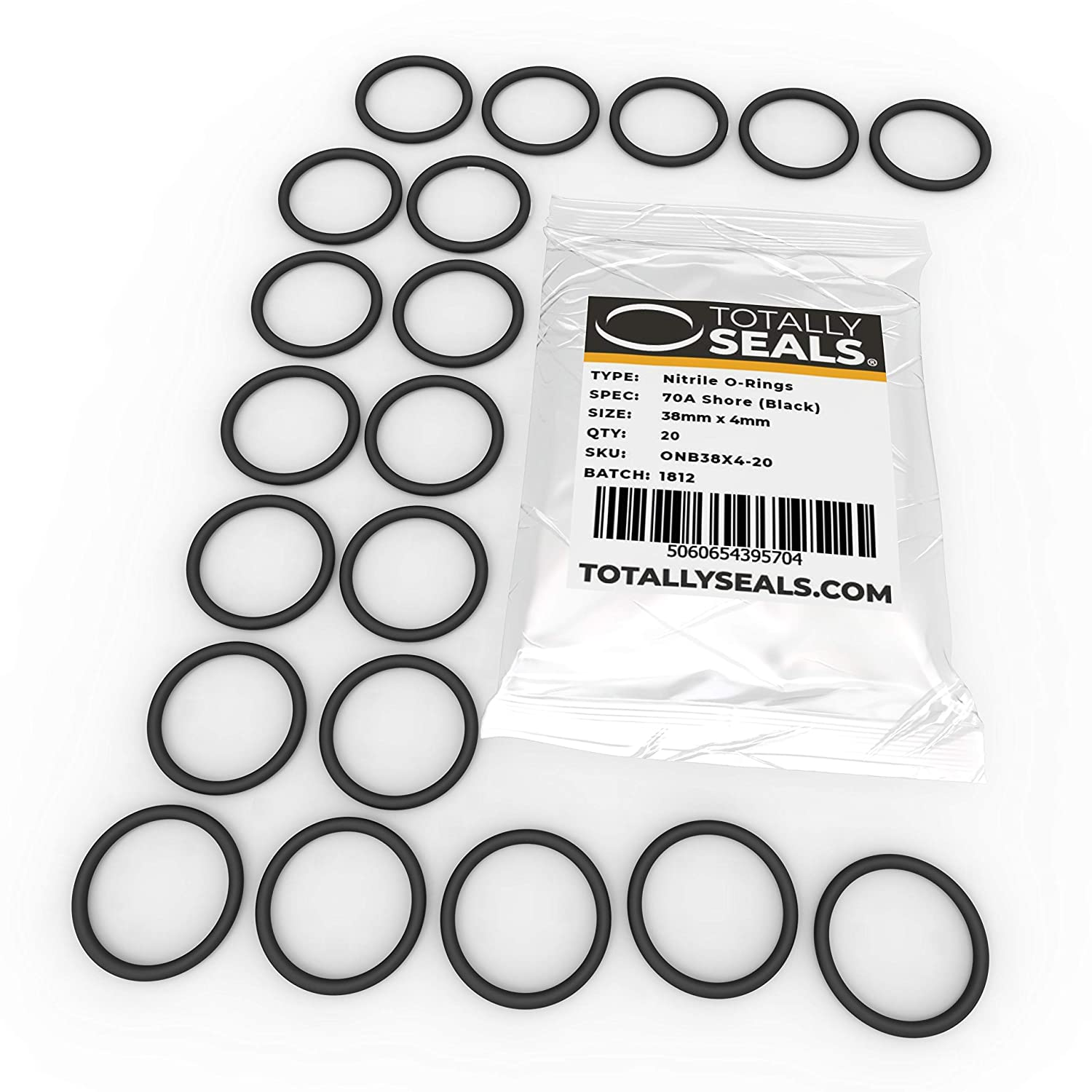 38mm x 4mm Nitrile Rubber O-Rings 70A Shore Hardness Pack of 10 46mm OD