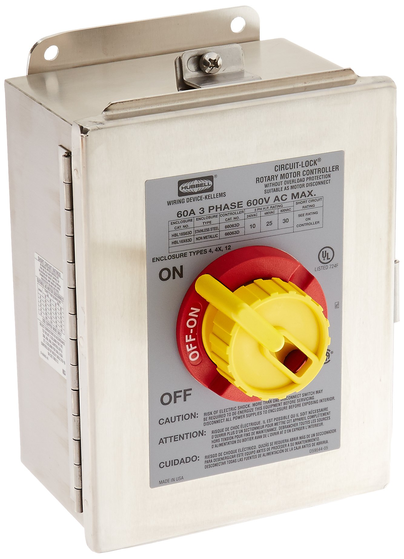 Hubbell HBL16S63D 3 Pole Rotary Disconnect Switch, 4X Stainless Steel Enclosure, 60 amp, 600V