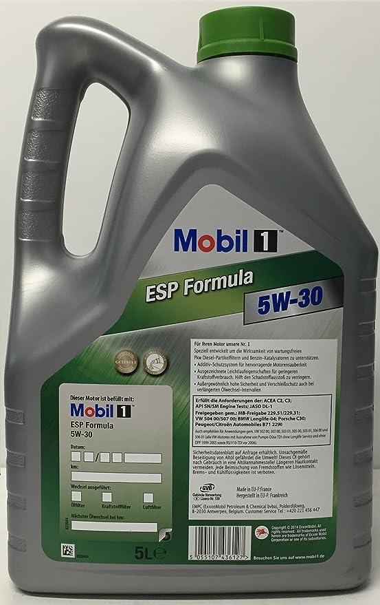 Aceite de motor MOBIL 1 ESP FORMULA 5W-30, 10 Litros (2 x 5 lts): Amazon.es: Coche y moto