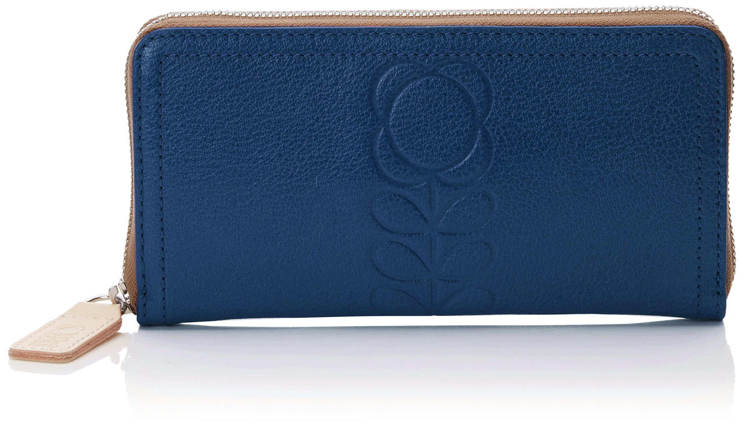 Embossed Flower Leather Big Zip Wallet Wallet, Indigo, One Size