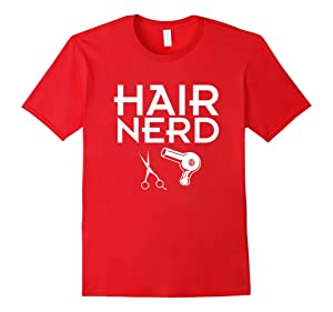 Men's Hair Nerd Shirt for stylists or any hair beauty professional Large Red