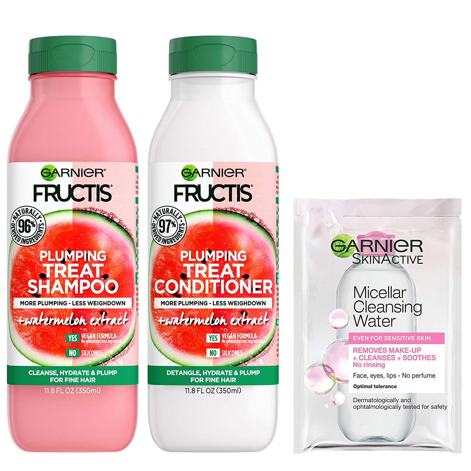 Garnier Fructis Plumping Treat Shampoo and Conditioner, 98 Percent Naturally Derived Ingredients, Watermelon, Plump Flat Hair, 11.8 oz ea, w/Micellar Sample (Packaging May Vary)