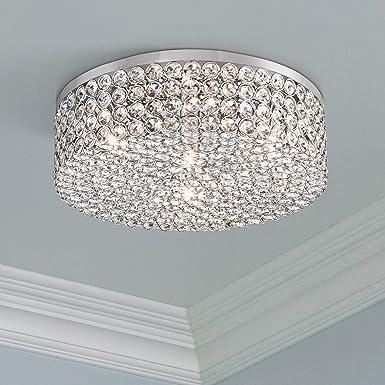 Velie Modern Ceiling Light Flush Mount Fixture Chrome Drum 12 Wide Crystal for Bedroom Kitchen Living Room Hallway Bathroom – Vienna Full Spectrum