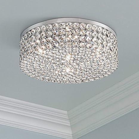 the latest 70126 5f75c Velie Modern Ceiling Light Flush Mount Fixture Chrome Drum 12