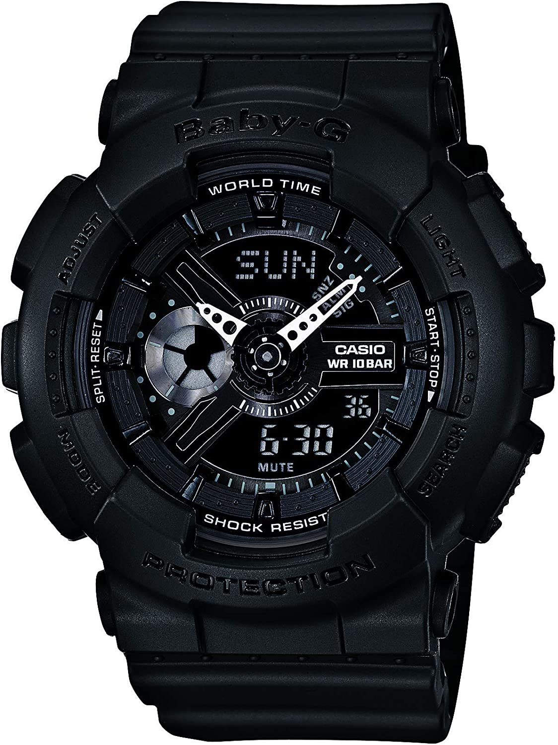 Casio Women s Baby G Quartz 100M WR Shock Resistant Resin Color Black and Grey Model BA-110BC-1ACR
