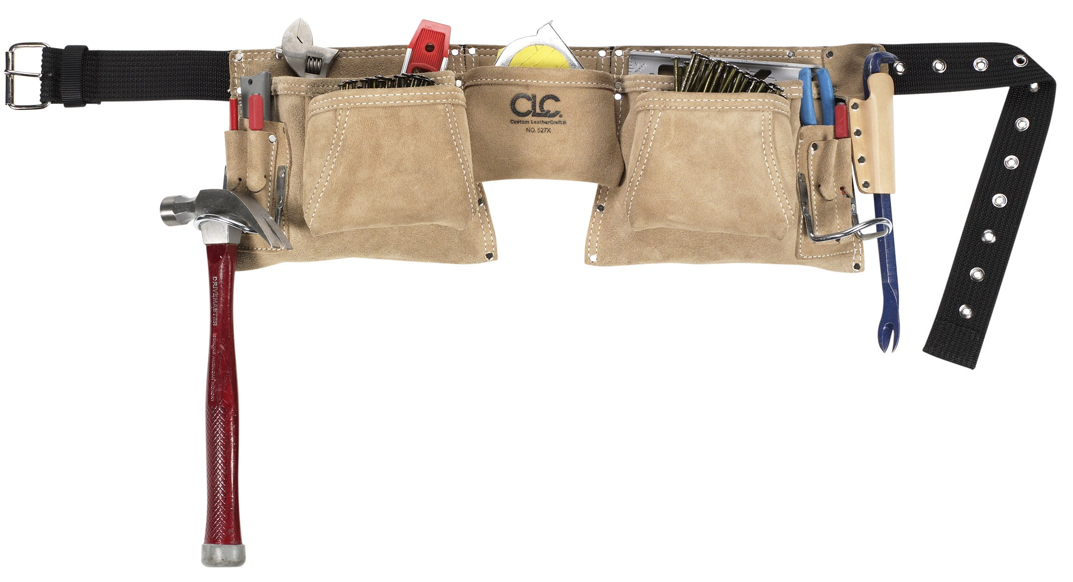 CLC Custom Leathercraft 527X Heavy Duty Top Grain Suede Construction Work Apron with 2 Hammer Loops, 12 Pockets