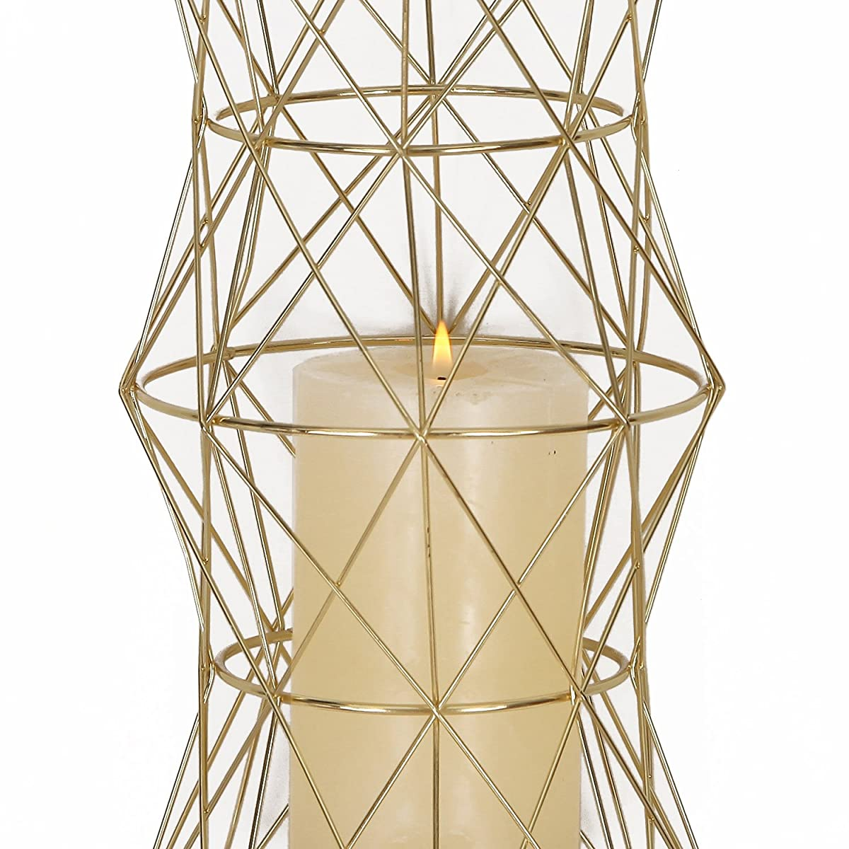 Homebeez Hurricane Pillar Candle Holder, Set of 2 Gold Wire Candle Holders