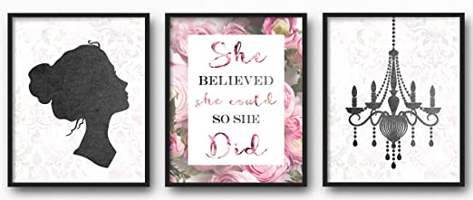 """Set of 4 Prints 8/"""" x 10/"""" unframed Wall Decor for Your Loved one Motivational Wall Art for Girls Bedroom"""