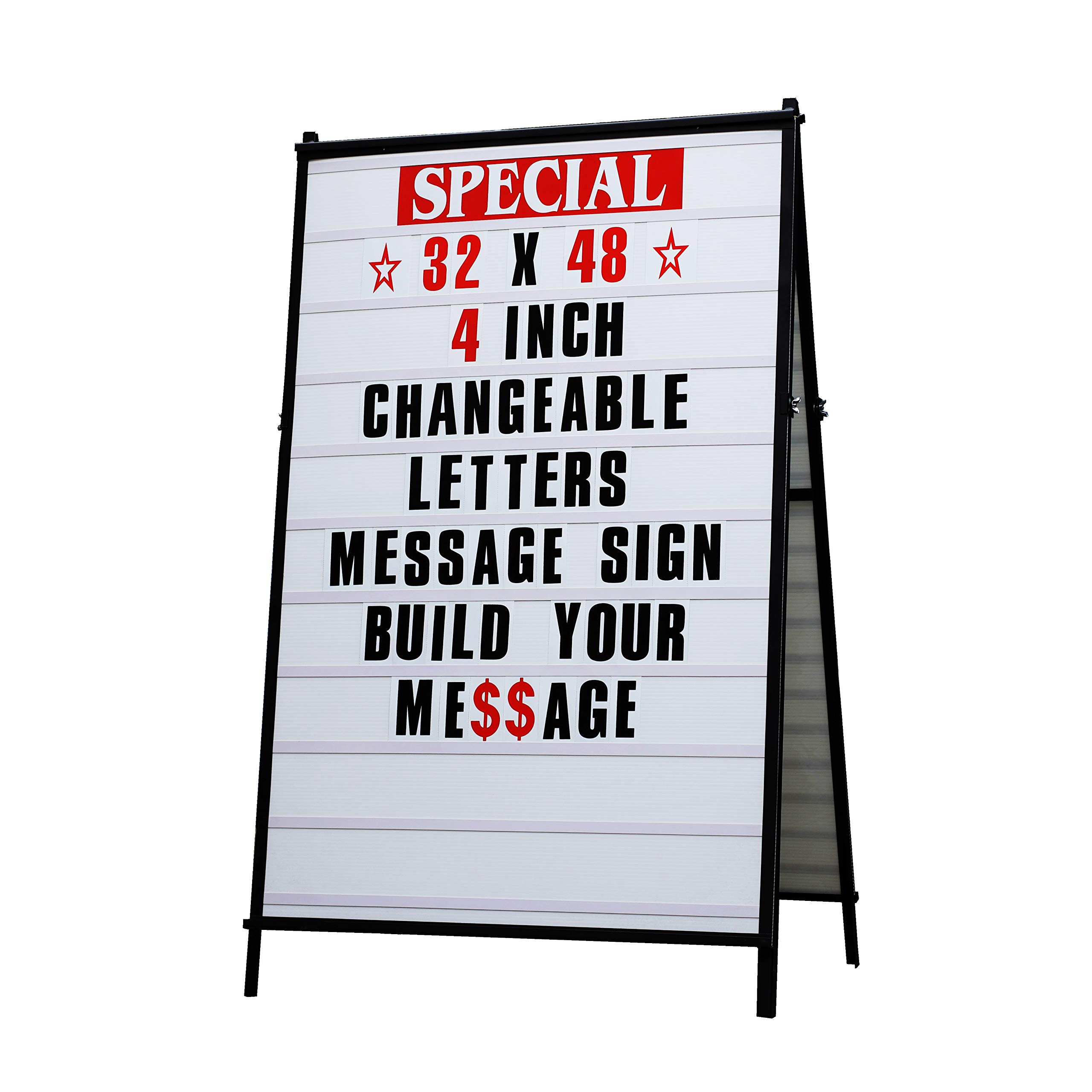 32''x 48'' Sidewalk A Frame Changeable Letters Message Sign with 4 inch Letters Set