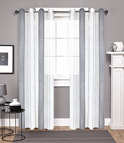 DEZENE Vertical Striped Sheer Curtains for Living Room Tulle Panels with  Grommets,76 Inches Width x 96 Inches Long, Grey and White,1 Panel