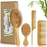 MRD Bamboo Hair Brush and Comb Set with Paddle Detangling Brushes Natural Hairbrush ECO-Friendly No Bristle, suit for Women M