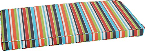 Mozaic AZCS2794 Indoor or Outdoor Sunbrella Bench Cushion with Corded Edges and Tie Backs, 48 in W x 19 in D, Carousel Confetti