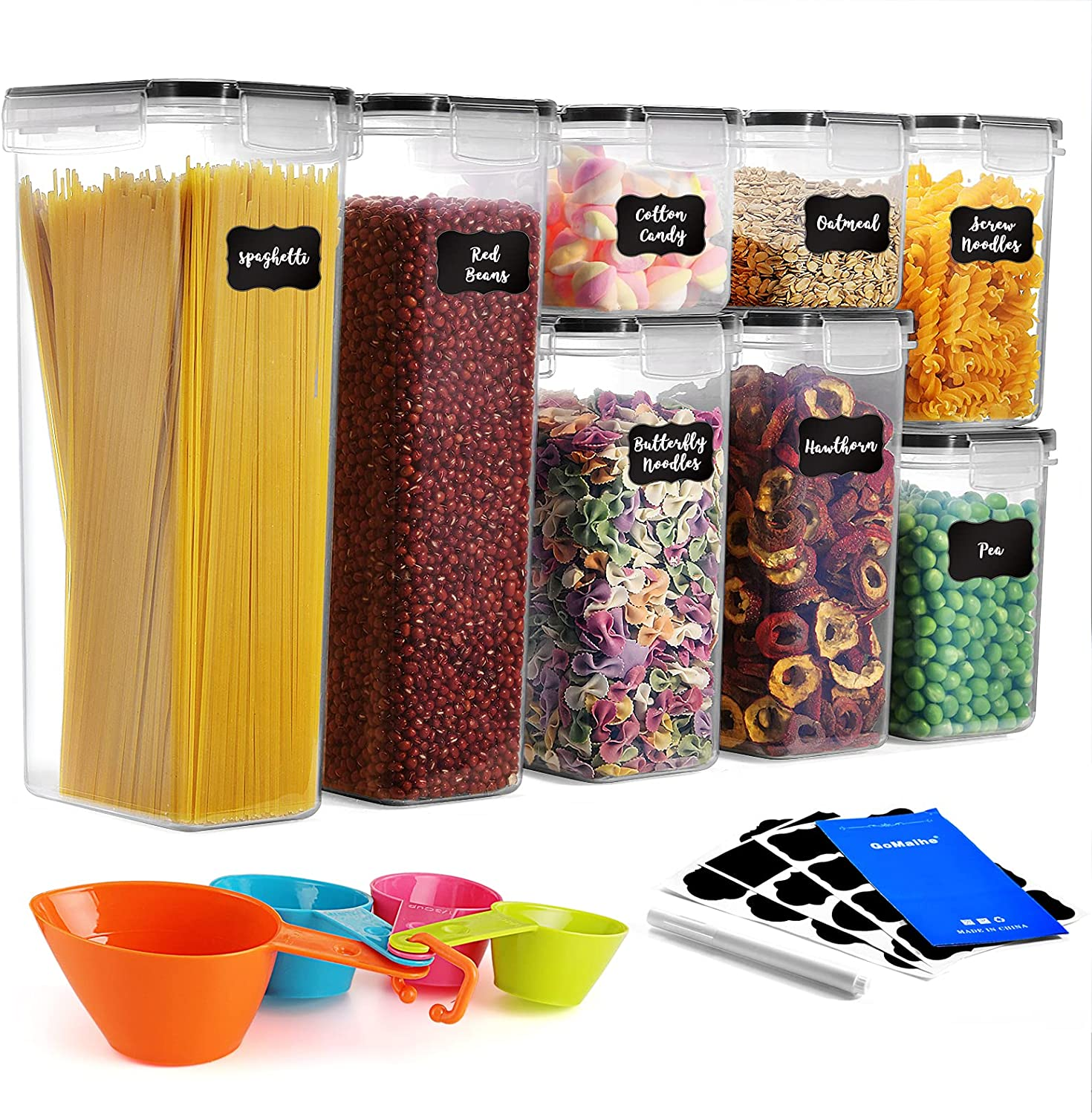 GoMaihe Food Storage Containers 8-Piece, Plastic Food Storage Containers with lids Airtight, Cereal Containers Storage set Suitable for Food, Cereal, Kitchen Pantry Organization and Storage, Black