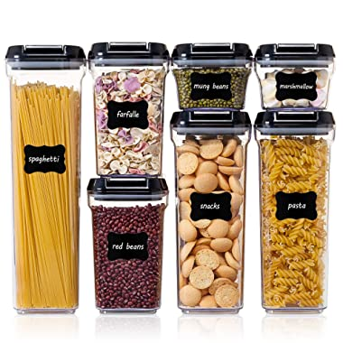 Vtopmart Airtight Food Storage Containers - 7 Pieces BPA Free Upgraded Plastic Containers with Improved Durable Lids - for Kitchen Pantry Organization and Storage - Include 24 Labels and 1 Marker
