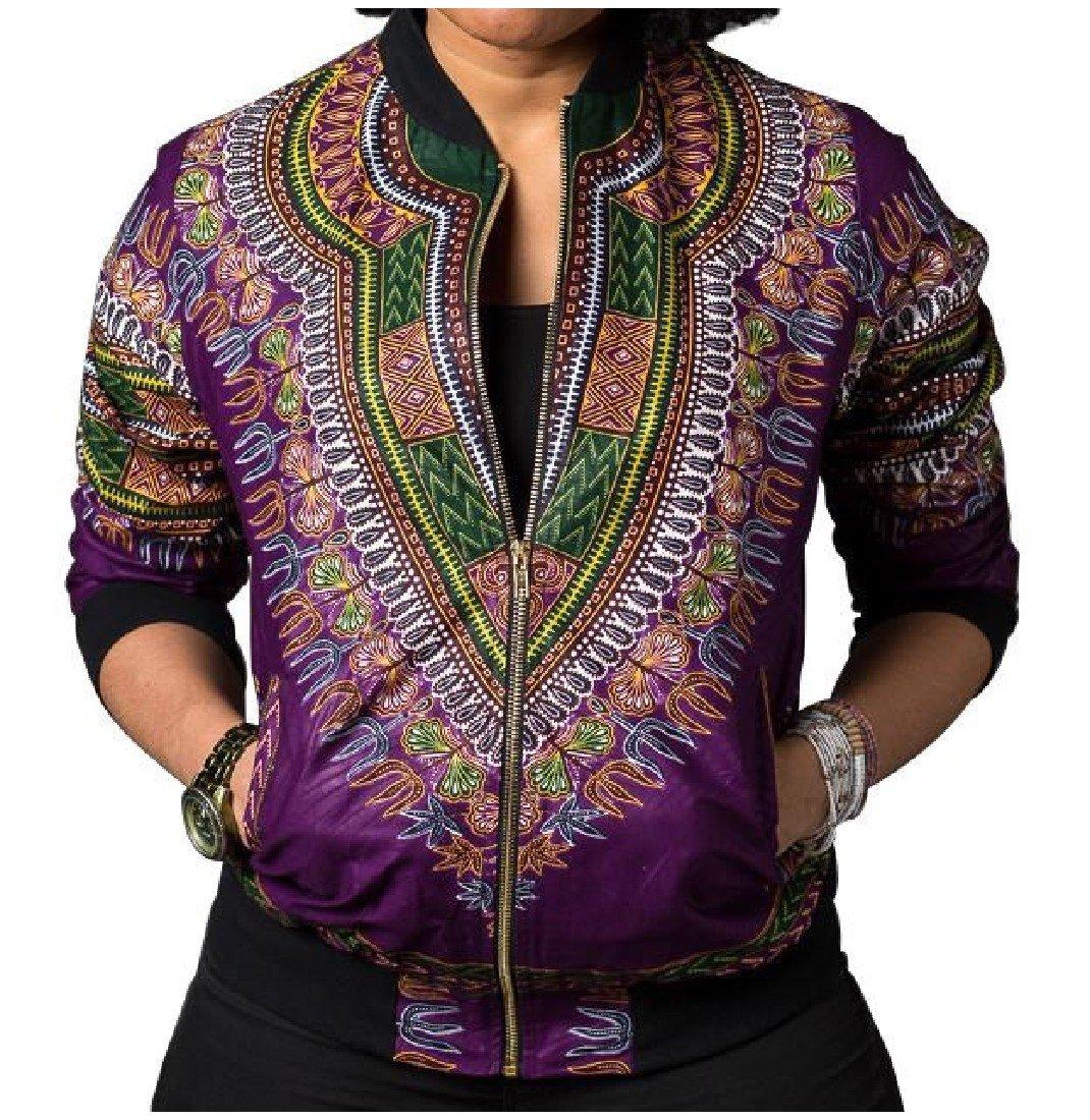 XQS Women African Dashika Zipper Navajo Floral Vintage Outerwear Coat Purple Large