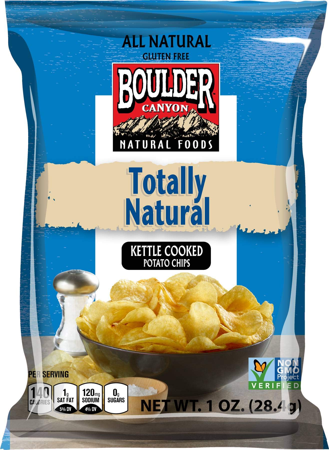 Boulder Canyon Sea Salt Kettle Cooked Potato Chips - 1 oz. bag, 72 per case