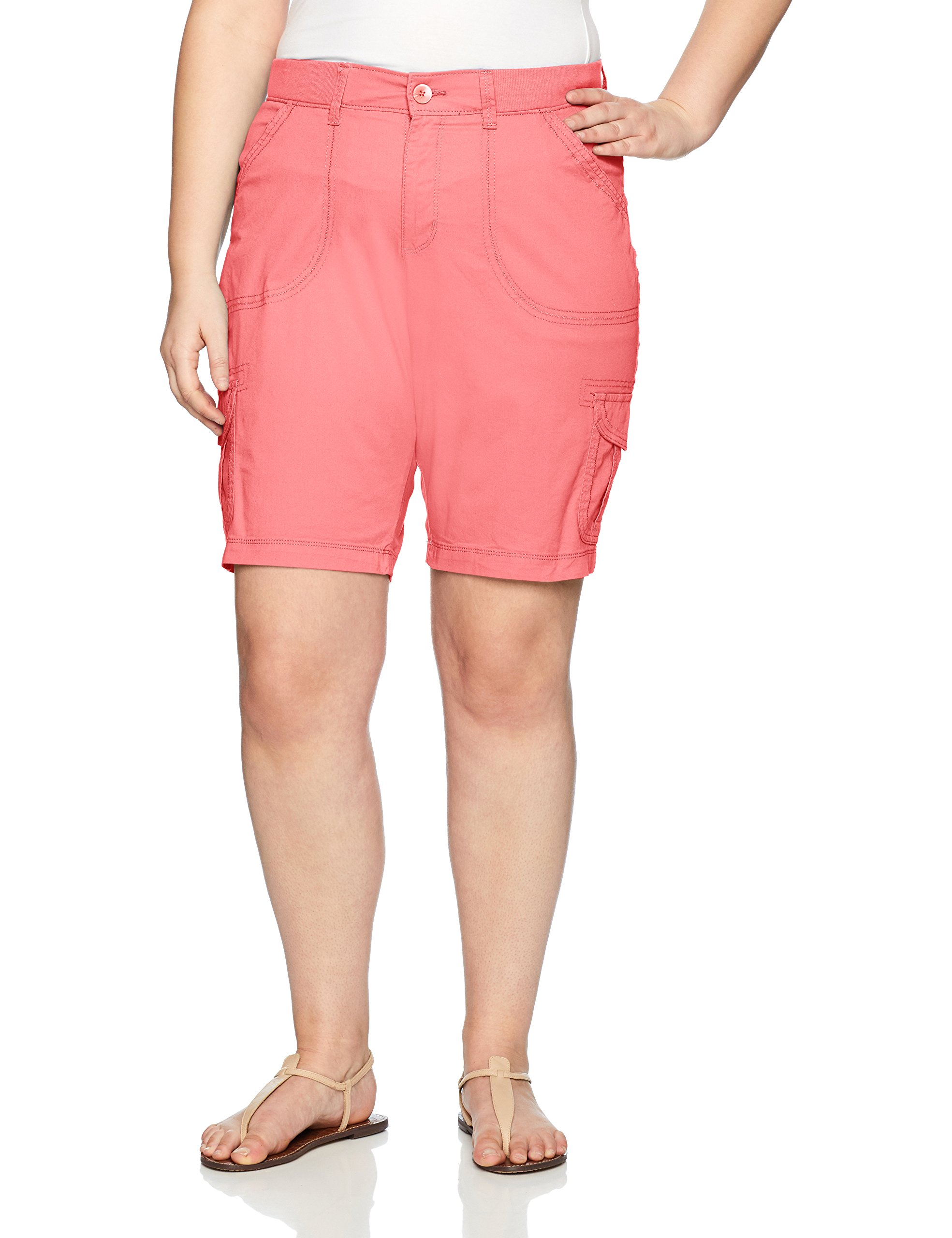 LEE Women's Plus Size Relaxed Fit Diani Knit Waist Bermuda Short, Peony Pink, 18W Medium