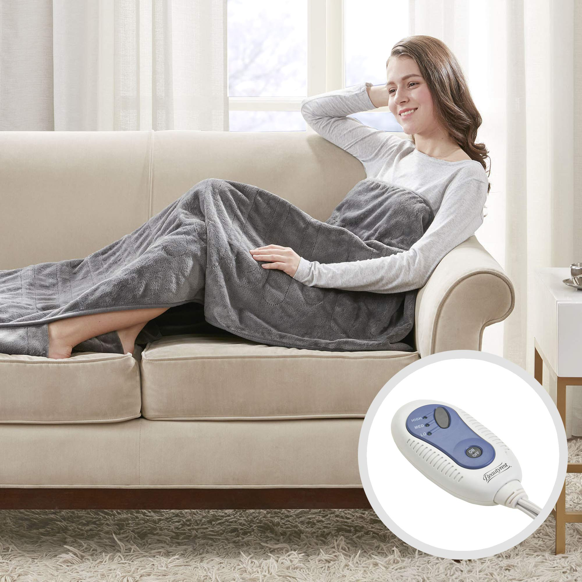 Beautyrest Foot Pocket Soft Microlight Plush Electric Blanket Heated Throw Wrap with Auto Shutoff, 50x62, Grey by Beautyrest