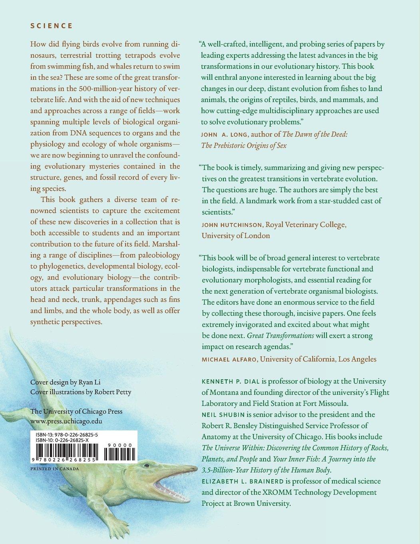 Great transformations in vertebrate evolution kenneth p dial neil shubin elizabeth l brainerd 9780226268255 amazon com books