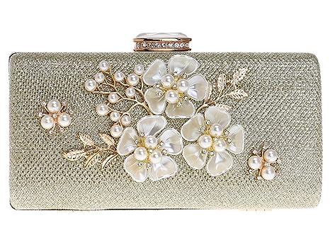 Bolso Mujer Noche Bolsas Fiesta Boda Carteras Brillo Mano Diamantes Cadena Embrague Flores Dorado