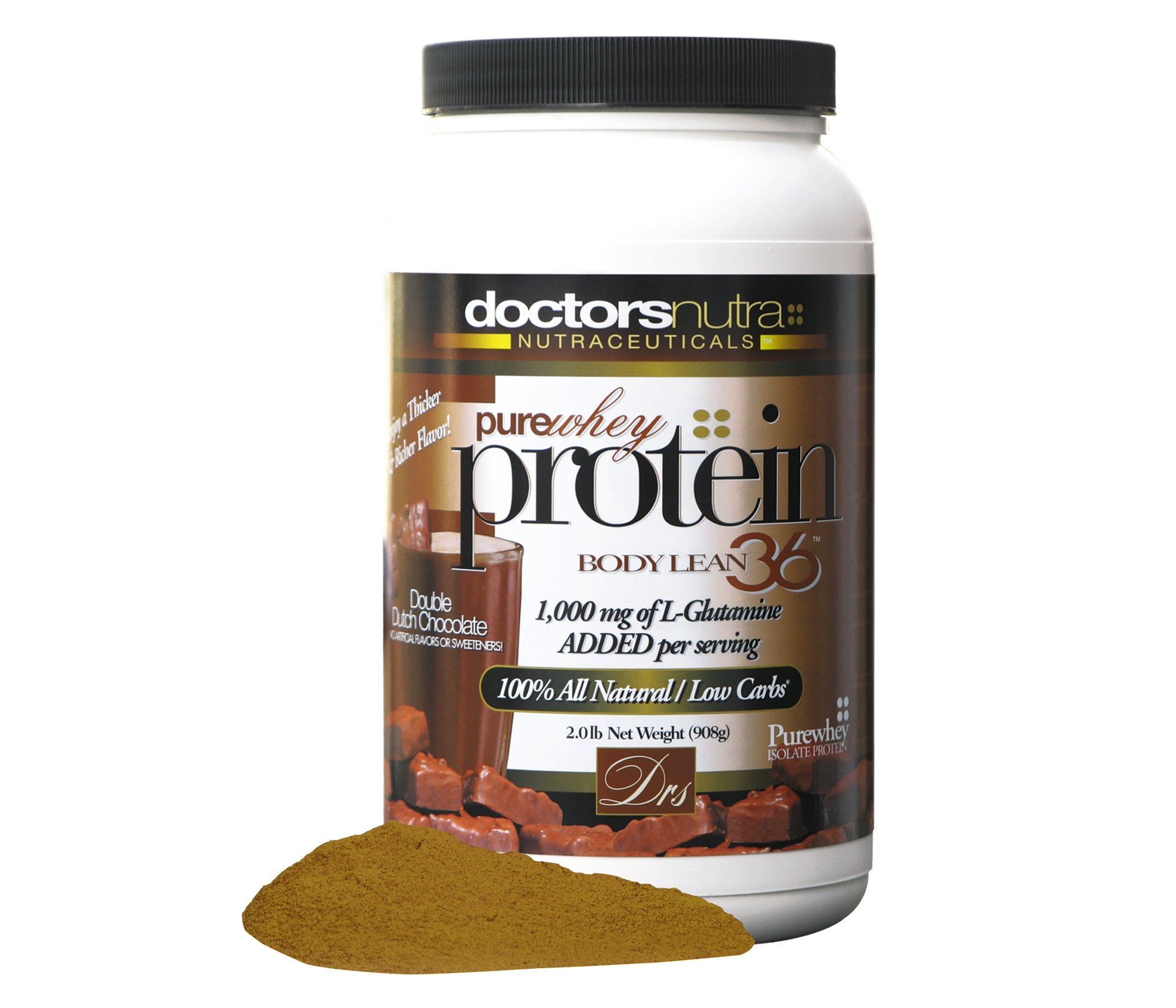 Pure 100 Percent Undenatured Grass Fed Whey Protein by Doctors Nutra Nutraceuticals, Low Carb Low Fat, Double Dutch Chocolate Flavor, Natural Ultrafiltered Plus 1000 Milligrams L-Glutamine, 2 Pounds by Doctors Nutra Nutraceuticals