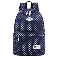"S-ZONE Lightweight Casual Daypack Canvas Polka Dot Backpack 14""-15"" Laptop PC School Bag for Teenage Girls"