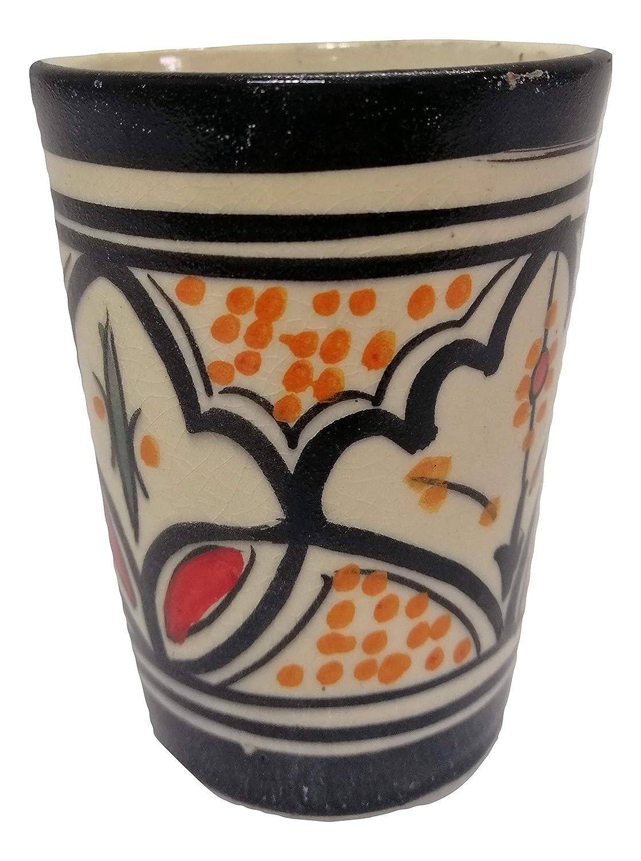 Bicchiere Ceramica Terracotta t/è Marocchino Vino Acqua Decorato Dipinto a Mano Etnico Tradizionale Marocco 1503191501