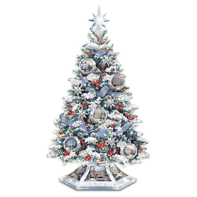 Kinkade christmas ornaments - Amazon Com Thomas Kinkade Musical Christmas Tabletop Tree With Crystal Base Lights Up By The Bradford Exchange Home Kitchen