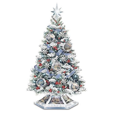 thomas kinkade musical christmas tabletop tree with crystal base lights up by the bradford exchange - Musical Christmas Tree Lights