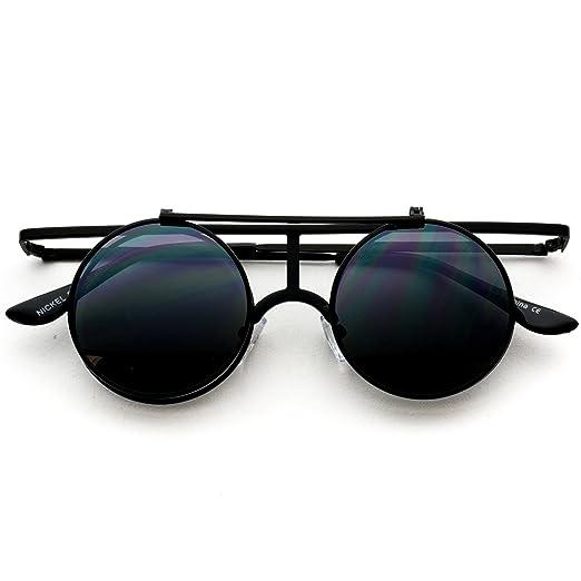 f96e22b6dd Retro Sunglasses Full Metal Round Circle Mirrored Lens Flip Up Lennon  Inspired (Black Frame