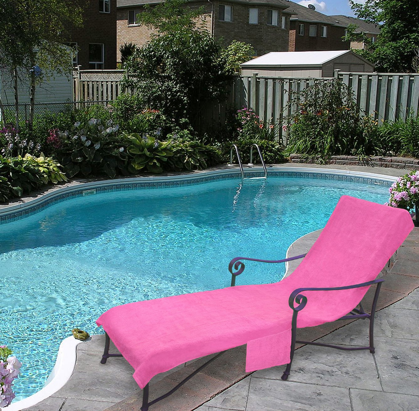 Pool lounge Chair Cover Pool Side 1000-Gram Chaise Cover Lawn Chair Cover Patio Chair Cover with 10-Inch Slip-on Back and Side Pocket Pool Paisley Purple