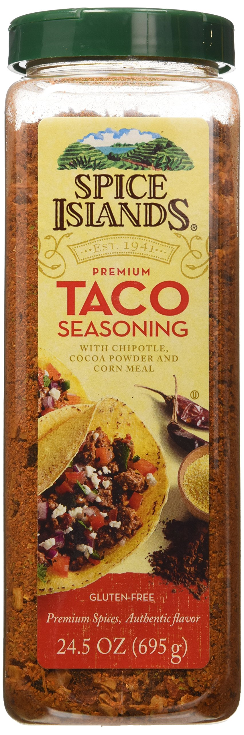 Spice Islands Premium Taco Seasoning with Chipotle Cocoa Powder and Corn Meal. Gluten Free
