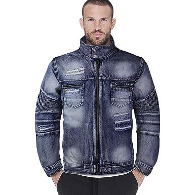 Contender Men S Distressed Zip Up Cotton Denim Jean Jacket 9dj03 At
