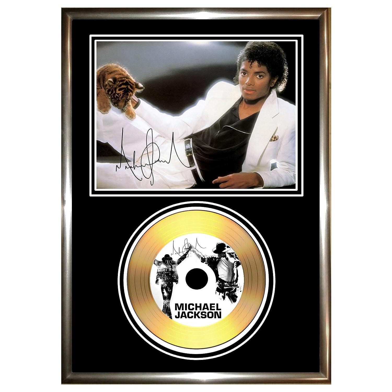 MICHAEL JACKSON SIGNED FRAMED GOLD CD /& PHOTO DISPLAY