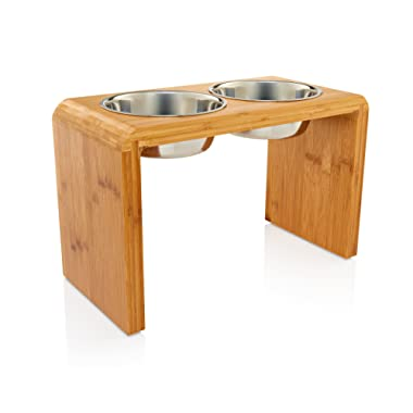 Premium 12  Elevated Dog Pet Feeder, Double Bowl Raised Stand Comes with Extra Two Stainless Steel 56oz Bowls. Perfect for Large Dogs