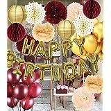"""Adornos de cumpleaños de color burdeos dorado para mujer, globos de oro con texto en inglés """"Happy Birthday"""", globos de oro b"""
