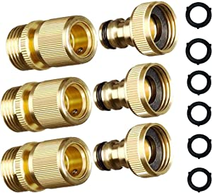 MAXFLO Garden Hose Quick Connect Garden Hose Fittings [3 Pack] Solid Brass Water Hose Quick Connect Fittings Quick Connector | Water Hose Connectors 3/4 inch GHT | Hose Couplers Quick Disconnect