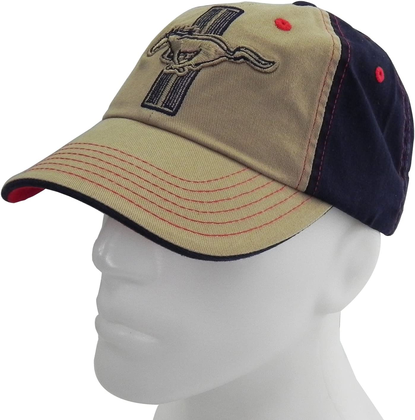Checkered Flag CarBeyondStore Ford Mustang Beige Blue Baseball Cap